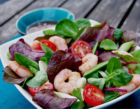 Duo lambs lettuce and ruby chard with Asian prawns