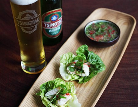 Tsingtao Beer poached haddock with a zesty dressing