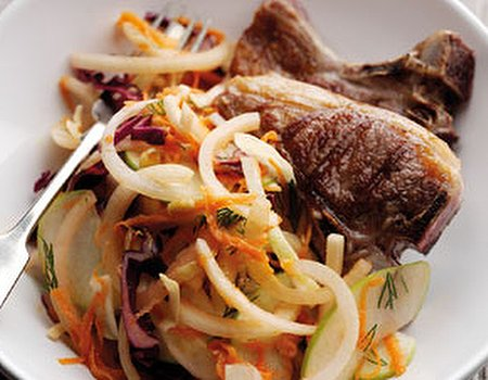 Super healthy coleslaw with lamb chops