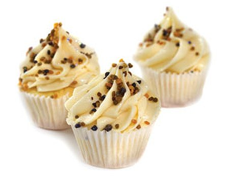Healthy Manuka honey cupcakes with bee pollen sprinkles